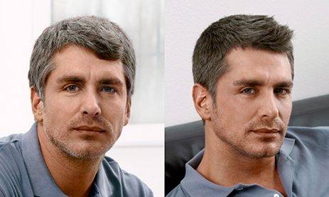 Камуфлирование седины у мужчин до и после