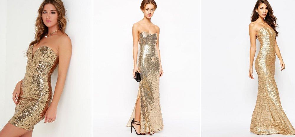 Вечернее новогоднее платье золотистого оттенка